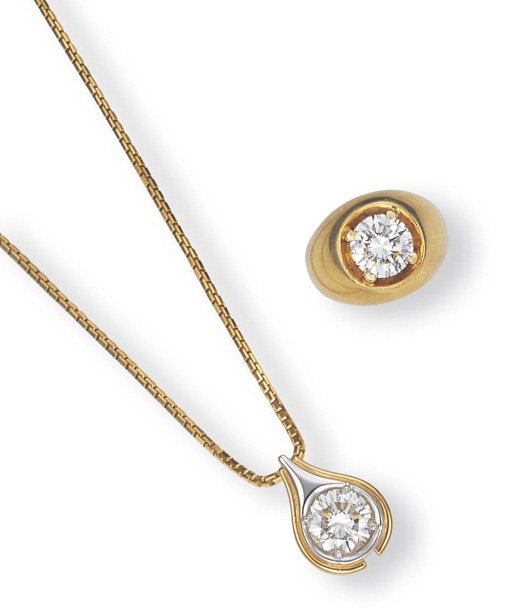 A SUITE OF DIAMOND AND GOLD JE