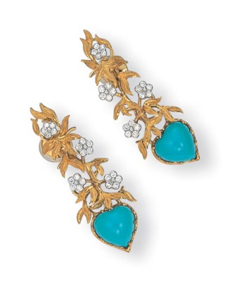 A PAIR OF 18K GOLD, TURQUOISE