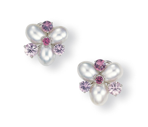 A PAIR OF CULTURED PEARL AND C