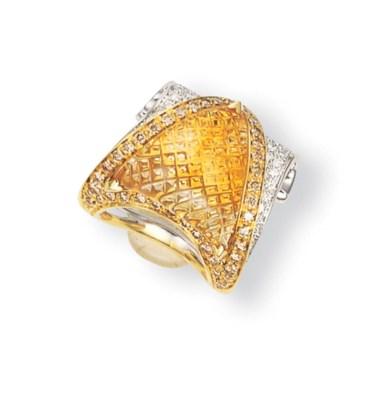 A CITRINE, COLOURED DIAMOND AN
