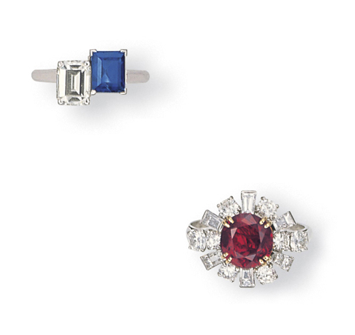 TWO DIAMOND AND RUBY OR SAPPHI