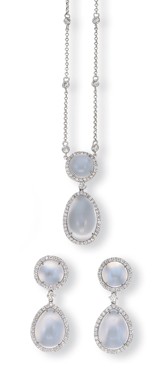 A SET OF MOONSTONE AND DIAMOND