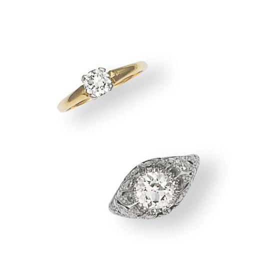 TWO SINGLE-STONE DIAMOND RINGS