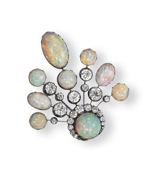 AN ANTIQUE OPAL AND DIAMOND PE