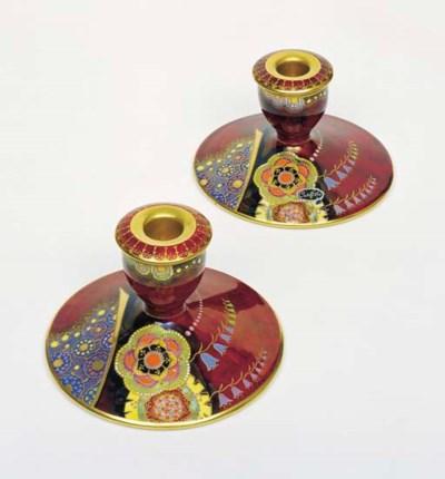 A Pair Of Carlton Ware Bell Pattern Squat Candlesticks