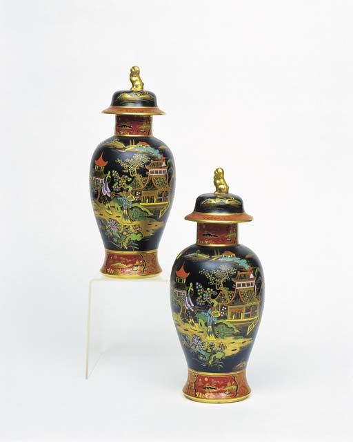 A PAIR OF CARLTON WARE 'TEMPLE