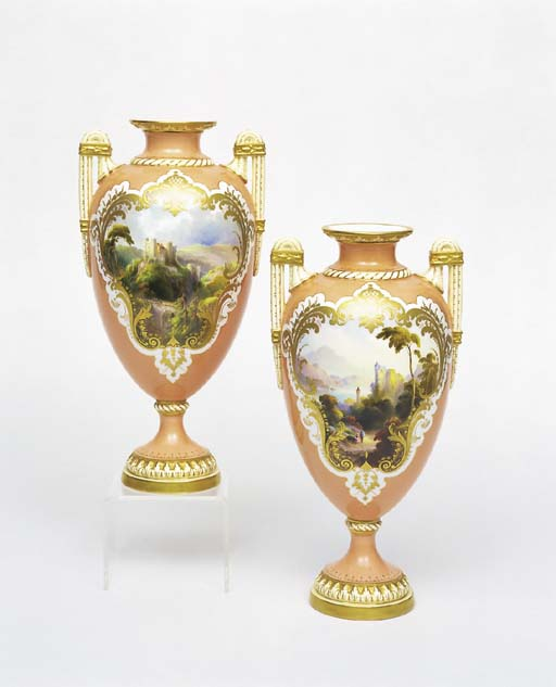 A PAIR OF ROYAL WORCESTER SALM