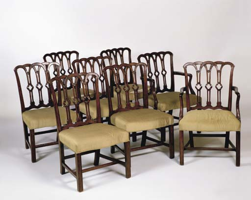 A SET OF EIGHT MAHOGANY CHIPPE
