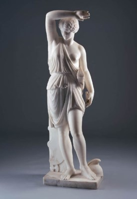 AN ITALIAN MARBLE FIGURE OF DI