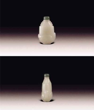 AN UNUSUAL WHITE JADE SNUFF BO