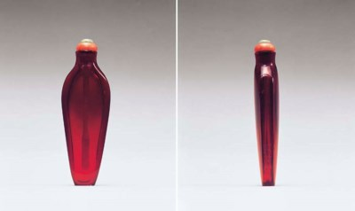 A TRANSPARENT RED GLASS SNUFF