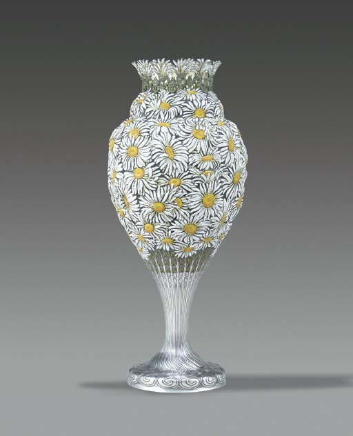 AN IMPORTANT SILVER AND ENAMEL EXPOSITION VASE