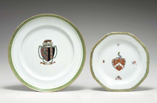 TWO ARMORIAL PLATES,