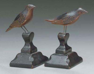 A PAIR OF MINIATURE SONGBIRDS,