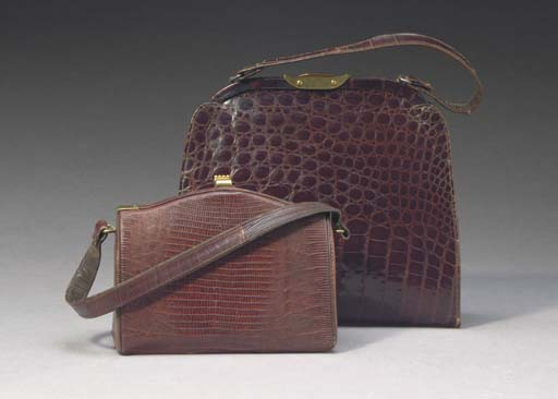 TWO BROWN ALLIGATOR HANDBAGS,