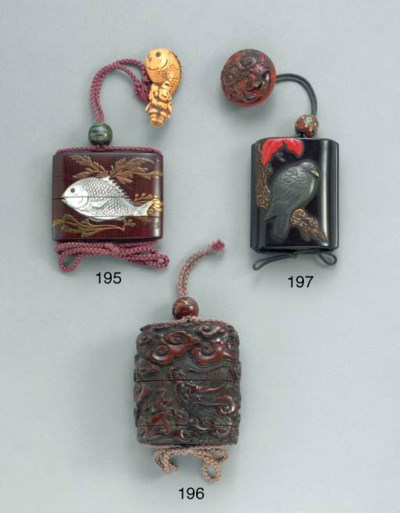 A Three-Case Inlaid-Wood Inro,