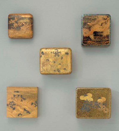 A Group of Five Small Lacquer