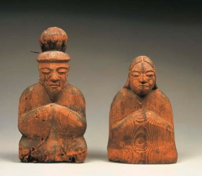 Pair of Shinto Wood Deities (S