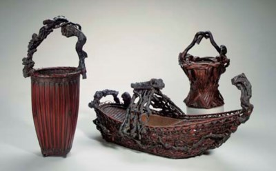 Three Bamboo Flower Baskets