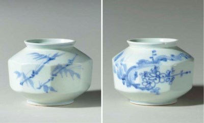 A Faceted Blue and White Jar