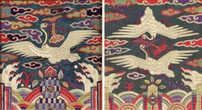 Two Embroidered Silk Rank Badg