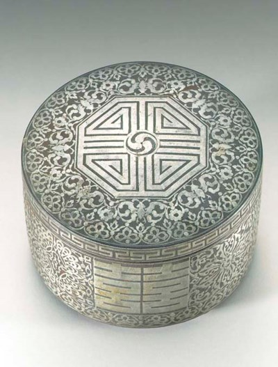 A Silver-Inlaid Iron Box and C