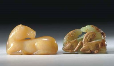 TWO SMALL JADE ANIMAL CARVINGS