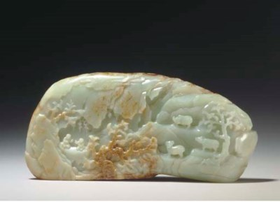 A RUSSET AND WHITE JADE MOUNTA
