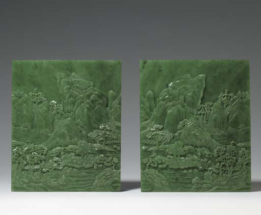 A PAIR OF BRIGHT SPINACH-GREEN JADE RECTANGULAR TABLE SCREENS