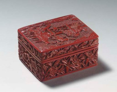 A SMALL CARVED RED LACQUER REC