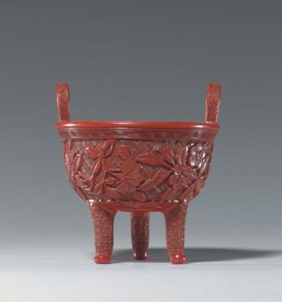 A RARE CARVED RED LACQUER TRIP