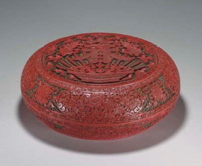 A LARGE CARVED THREE-COLOR LAC