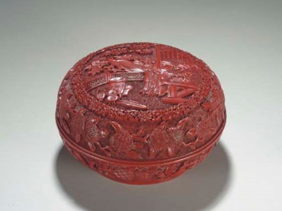 A SMALL CARVED RED LACQUER CIR