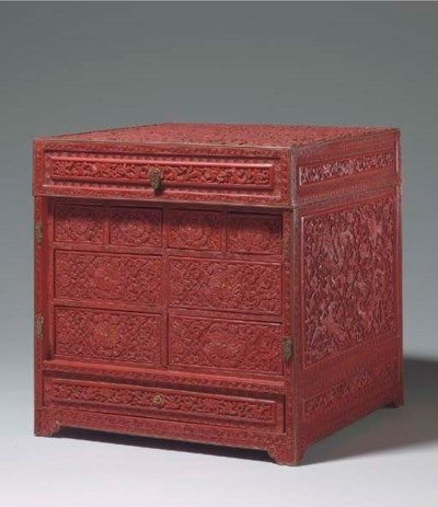A CARVED RED LACQUER SEAL CHES