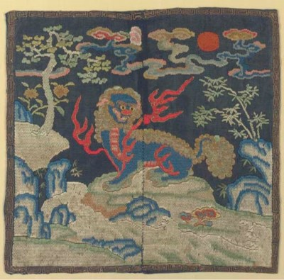 A RARE EMBROIDERED GAUZE MILIT