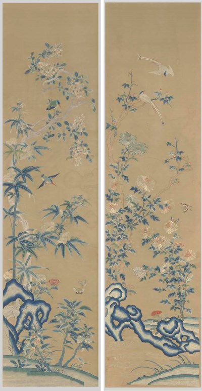 TWO EMBROIDERED SILK HANGINGS