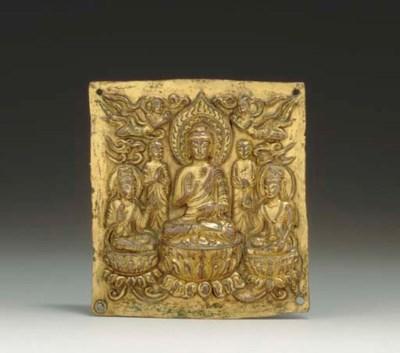 A RARE GILT-COPPER BUDDHIST PL