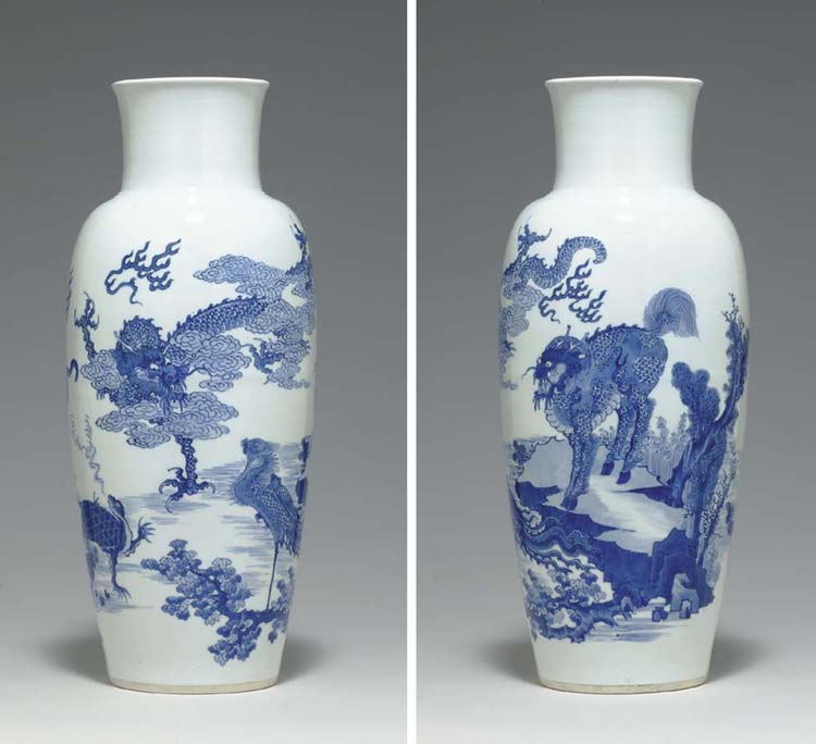 A BLUE AND WHITE OVOID VASE