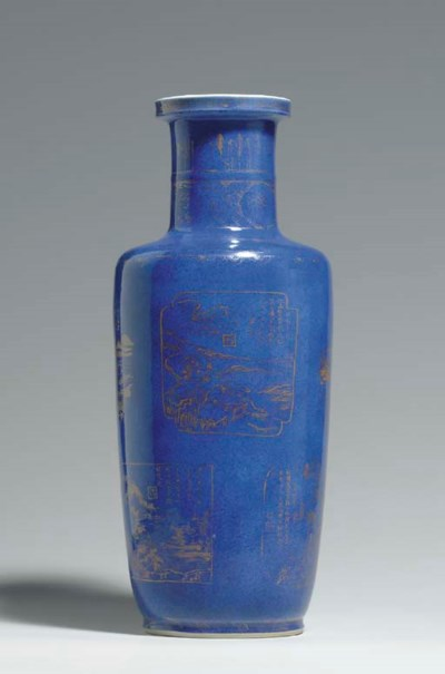 A LARGE GILT-DECORATED POWDER-