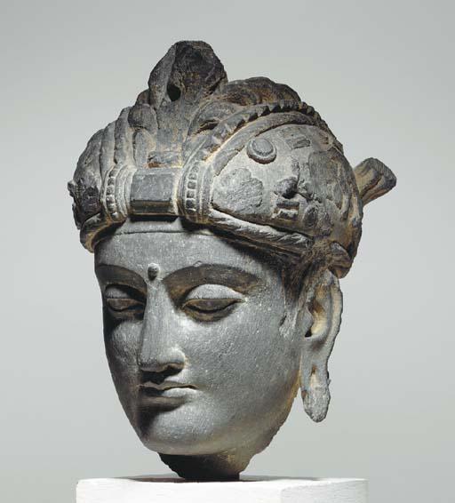 A Gray Schist Head of a Bodhisattva*