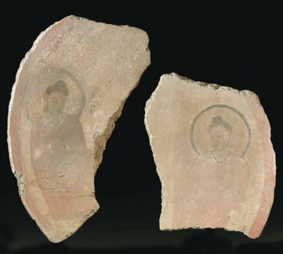 Two Painted Stucco Fragments o