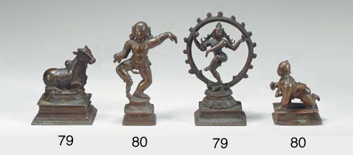 Two Small Bronzes of Shiva Nataraja and Nandi