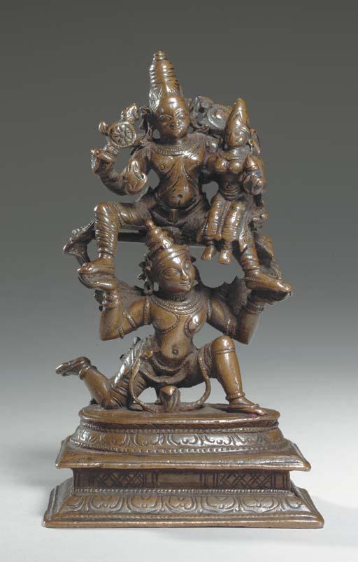 A Small Bronze Figure of Laxminarayana