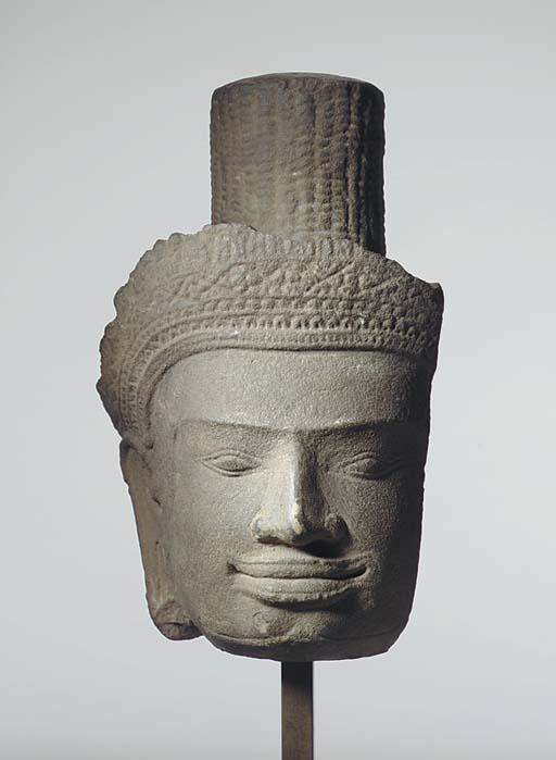 A Gray Sandstone Fragmentary Head of a Deity