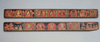 A Pair of Painted Wood Manuscr