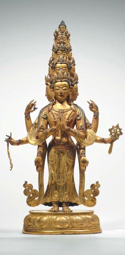 A Gilt Bronze Figure of Eleven