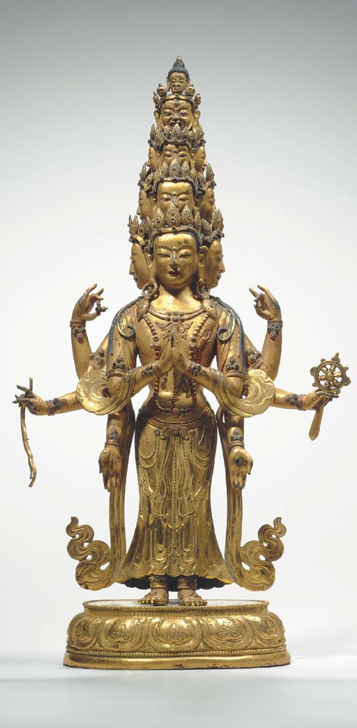 A Gilt Bronze Figure of Eleven-Headed Avalokiteshvara