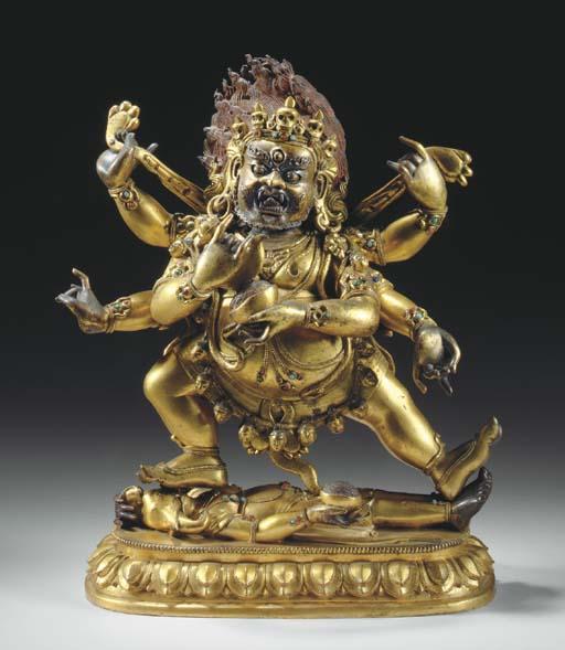 A Gilt Bronze Figure of Mahakala