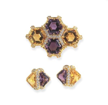 A SET OF AMETHYST, CITRINE AND