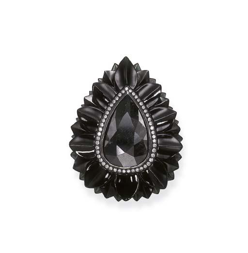 A BLACK DIAMOND AND BLACK JADE
